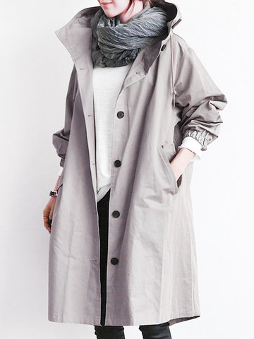 Casual Hooded Pure Color Trench Coats For Women