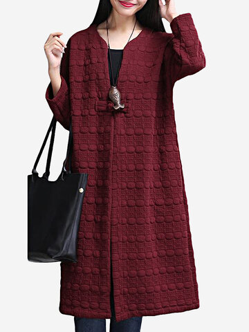 O-NEWE Women Casual Vintage Plate Button Pure Color Long Sleeve Cardigan
