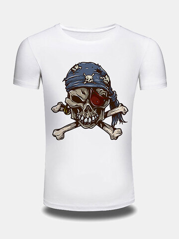 Mens Creative 3D Skeleton Printed Tee top O-neck Short Sleeve Casual T-shirt