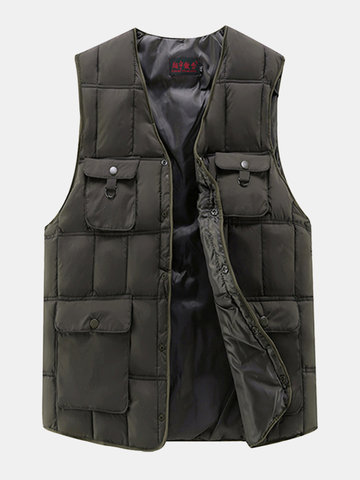 Outdoor Fishing Multi-Pockets Duck Down Vest Casual Loose Waistcoat for Men
