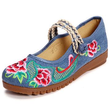 Китайский узел цветок вышитые холст плоские ретро обувь