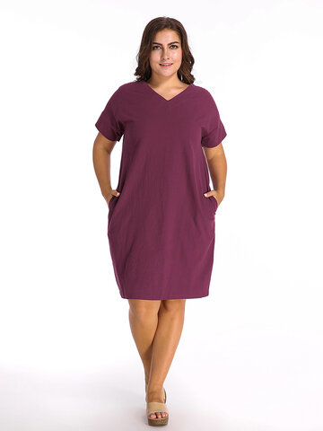 O-Newe Loose Pure Color Batwing Sleeve Lantern Dress For Women