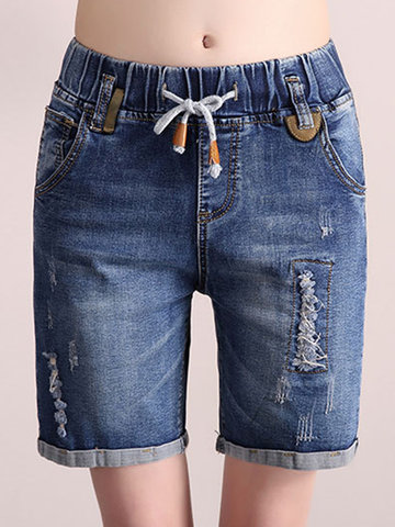 Casual Denim Drawstring Waist Hole Women Shorts