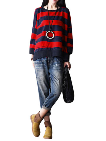 O-NEWE Casual Loose Striped Round Neck manga comprida blusa para as mulheres