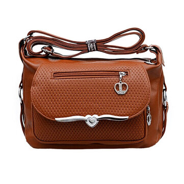 Women Cacual PU Leather Mother Crossbody Bag Elegant Shoulder Bag