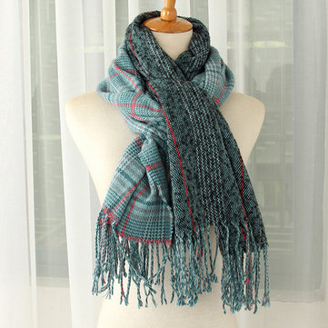 Women Artifical Cashmere Gird Patchwork Scarves With Tassel Shawl Classical Plaid Scarf