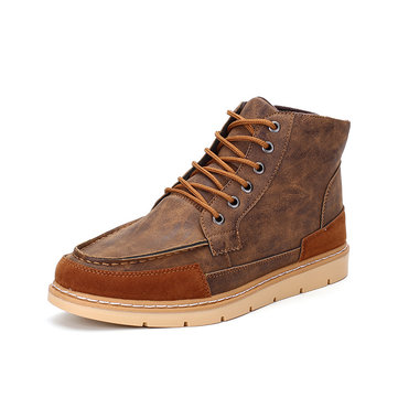Men's Fashion Color Match Work Shoes High Top Lace Up Casual Boots