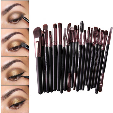 20 Pcs Antibacterial Fiber Wool Makeup Brushes Set Powder Foundation Eyeshadow Lip Cosmetic Brush