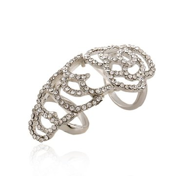 Crystal Flower Hollow Joint Knuckle Ring