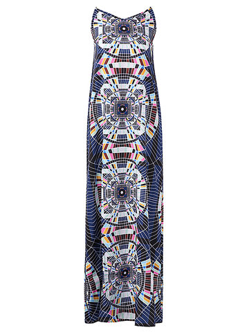 Bohemia Geometric Print Cami V-neck Maxi Dress For Women