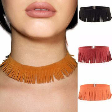 Punk Tassel Necklace Rock Leather Simple Choker Clavicle Necklace