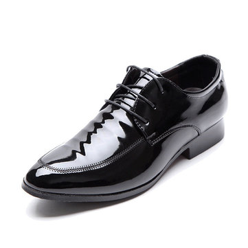 Men Pointed Toe Lace Up Comfortable Business Casual Shoes