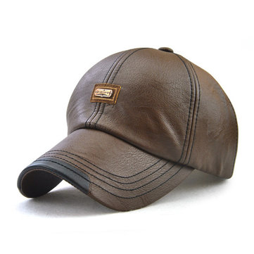 Men PU Leather Vintage Baseball Cap Outdoor Windproof Cap