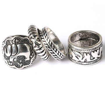 Carved Totem Antique Silver Elephant Leaf Rings