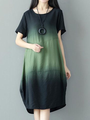 Women Gradient Short Sleeve Loose Vintage Dresses