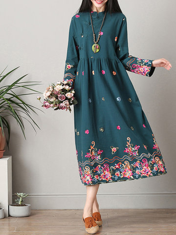 Vintage Ethnic Printed Frog Buttons Long Sleeve Women Dresses
