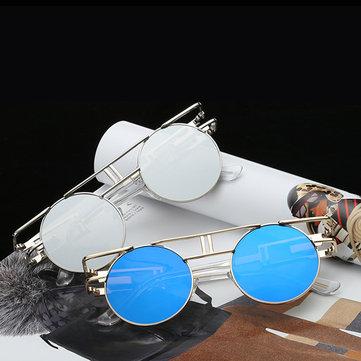 Men Women Vintage UV400 Sunglasses Retro Steampunk Round Mirror Lens Glasses