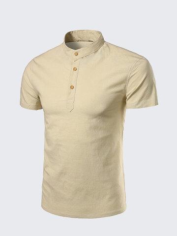 Мужская летняя белая футболка с коротким рукавом Футболка с китайским воротником Top Tee