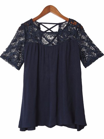 Sexy Women Lace Patchwork Back Cross Crochet Short Sleeve Blouse