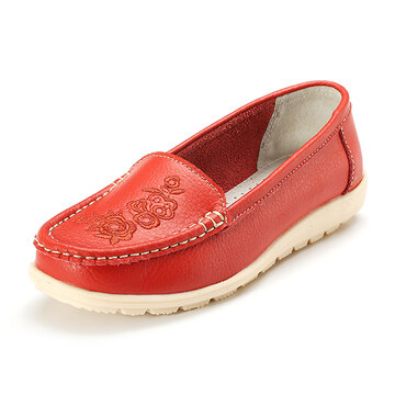 Flower Print Pure Color Flat Leather Slip On Casual Loafers