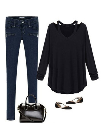 Long Sleeve Off Shoulder T-shirt