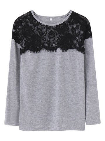 Lace Splicing Solid Sexy Long Sleeve Basic Women T-Shirt
