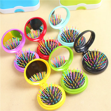 Rainbow Balloon Comb Creative Mini Camshell Combs Massage Portable With Folding Mirror