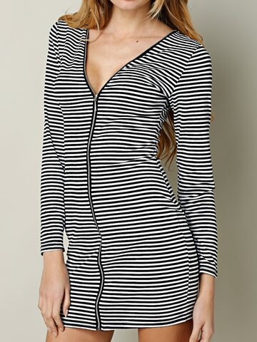 Sexy Stripe V-neck Bodycon Long Sleeve Women Mini Dress