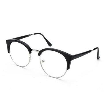 Мужчины Женщины Ретро очки Nerd Открытый объектив очки Ретро круглый металлический каркас очки