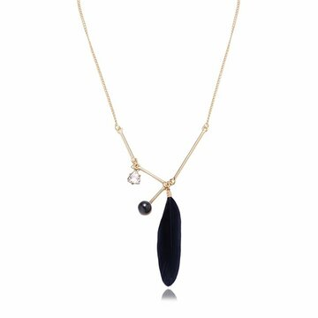 Balancing Style Simple Alloy Black Pearl Rhinestone Feather Necklace