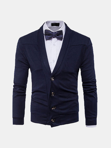 Mens Brief Single-breasted Knitted V-Neck Cardigans