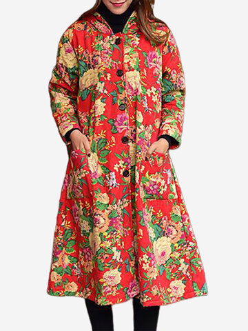 Floral Printed Vintage Thicken Coats