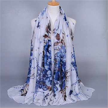 180*90CM Womens Long Soft Voile Scarf Wrap Floral Printed Scarves Shawl Stole