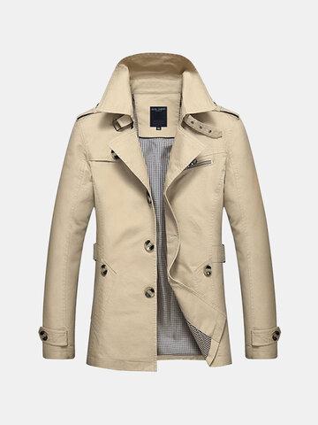 Однобортное повседневное пальто для мужчин