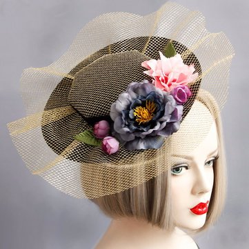 Cosplay Hair Clip Retro Elegant Cotton Flower Lace Hair Clip Hat