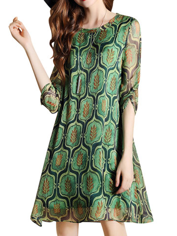 Chiffon Leaves Print Loose Half Sleeve O-neck Dress For Women
