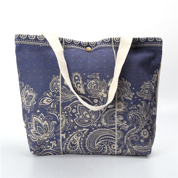Women Canvas National Style Leisure Printing Shoulder Bags Handbags Shopping Bag