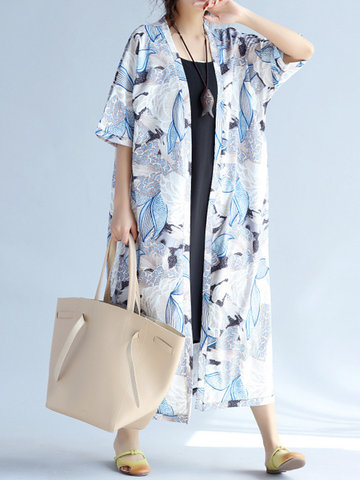 Bohemian Flower Printed Half Sleeve Long Cardigan Women Kimono