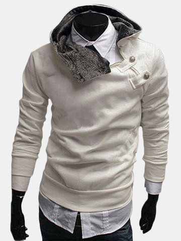 Mens Fall Winter Fashion Side Zipper Metal Buckles Hoodie Lined thick Sweatshirt