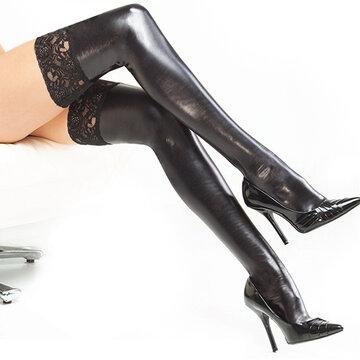 Женщины Сексуальные чулки Кружева лакированной кожи труба носки Плотно облегающие взрослые носки