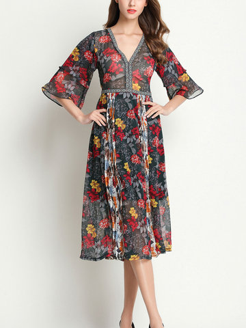 TangJie Floral Printed V-Neck Ruffled Half Sleeve Women Dresses