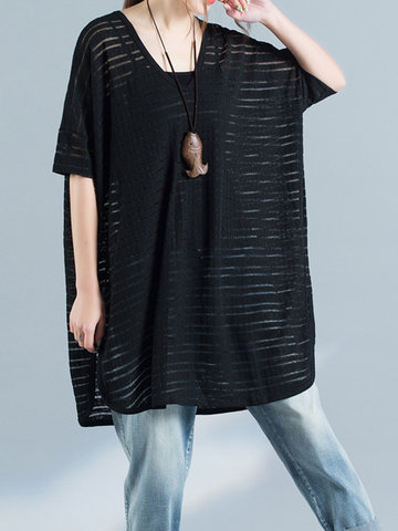Women Half Sleeve Irregular Hem Loose Cotton Blend T-shirts