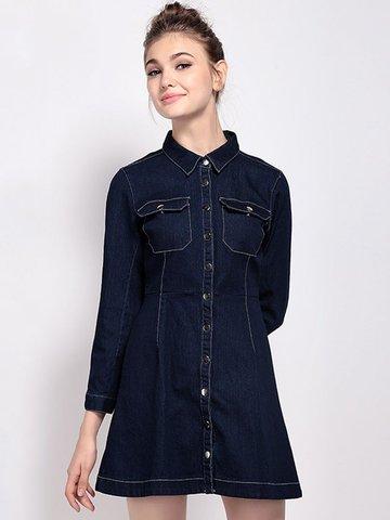 Женская повседневная джинсовая окантовка с воротником 3/4 Sleeve Blouse Dress