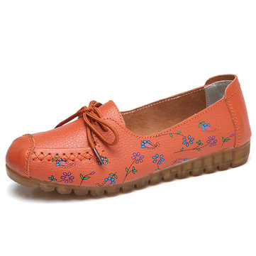 Floral Printing Comfortable Lace Up Soft Flat Shoes