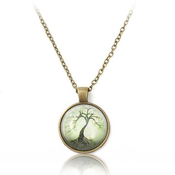 Tree Glass Cabochon Bronze Necklace