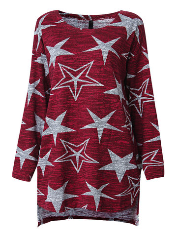 Women Fashion Casual Five-Point Star Pattern O Neck Long Sleeve Blouse Sweater