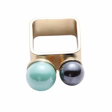 Balancing Style Vintage Ring Alloy Black Green Pearl Ring