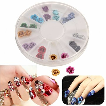 Multi-color 3D Rose Flowers Diamond DIY Nail Art Decoration Beads