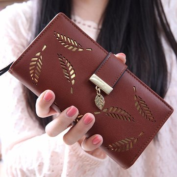 Women PU Leather Hollow Leaves Wallet Retro Purse Wallet Card Holders
