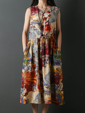 Floral Printed Sleeveless Dresses